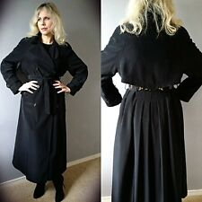 Vtg 90[s Black Military Spy Double breasted Cape Chain Maxi Trench Coat Jacket