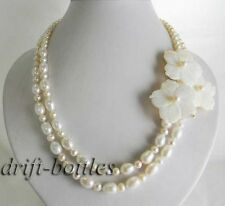 2strands 19'' white round rice freshwater pearl shell flower necklace