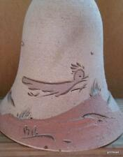 """Vintage Hand Made Pottery Bell Chime Roadrunner Western Signed 5"""" with Chain 11"""""""