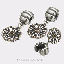 Authentic Pandora Silver & 14K Gold Lace Flower Clips (2) 790874CZK