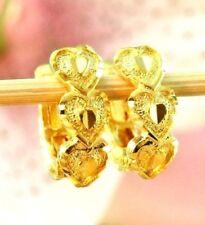 22K THAI BAHT DP YELLOW GOLD ~ BEAUTIFUL HEART LOVE OMEGA BACK HOOP EARRINGS