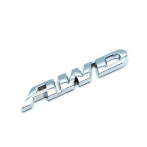 3D Metal Silver AWD Letters Car Emblem Auto Door Trunk Badge Sticker Accessories