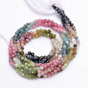 """Natural Multi Tourmaline Gemstone Round Faceted Beads 3X3 mm Strand 13"""" AB-250"""