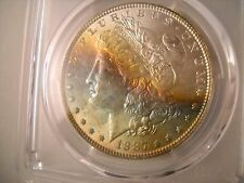 1887 Morgan  Dollar PCGS, MS63, Full Luster, Rainbow Toned Obverse, Beautiful