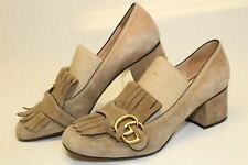 Gucci Womens Size 9 39 Suede Signature GG Fringe Loafer Pumps Italy Made Shoes