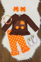 NEW Boutique Girls Pumpkin Truck & Ruffle Leggings Outfit Set 7 8