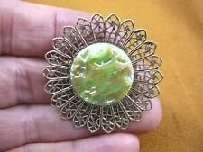 (Z18-7) lime green gold textured design Czech glass button filigree pin brooch