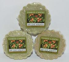 Lote de 3 Yankee Candle Bay Hoja Corona Tartas Pastillas Cera Vela Warmer Verde