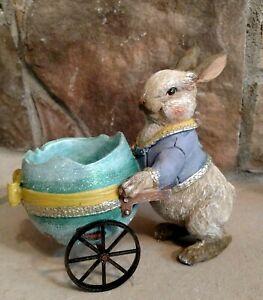 NWT RAZ Bunny Rabbit & Blue Egg Shell Cart Basket Spring Easter Figurine Decor