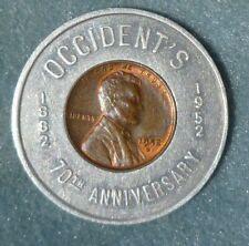 1952 Occident Flour Encased Penny Good Luck Coin