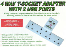 4 Way Extension T Socket Adaptor With USB Surge Protected 4 Gang