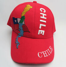 Chile Flag Embroidered Graphic Red Adjustable Strap Back Cap Hat
