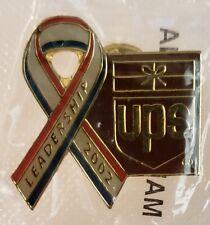 United Parcel Service LEADERSHIP 2002 Red, White, & Blue Ribbon UPS Lapel Pin