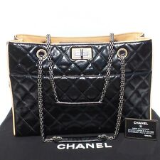 992f1184c4f1 CHANEL Black Glazed Quilted Leather Beige 2.55 Reissue Grand Shopping Tote  Bag