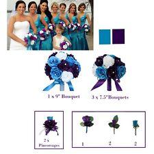 wedding bridal party bouquet corsage boutonniere purple malibu rose silk flower