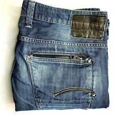 G-Star Raw Men's W36 L34 Blue Dark Wash Attacc Low Straight Zip Fly Denim Jeans