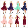Womens High Low Chiffon Halter Gown Prom Bridesmaid Wedding Formal Party Dress