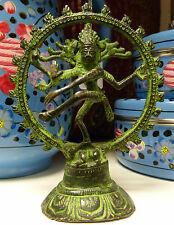 *Beautiful* Natraj Dancing Shiva Virdigris Brass Hindu God Statue 12.5cm or 5""