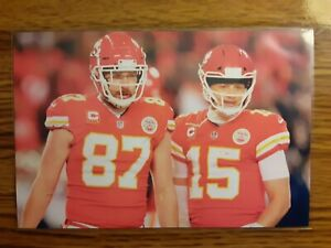 Patrick Mahomes Travis Kelce Chiefs Football 4x6 Game Photo Picture Card