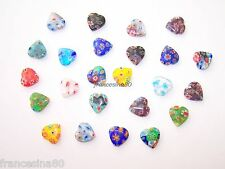 20 murrine millefiori forma Cuore 12mm vetro murrina