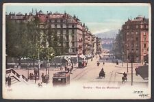 SWITZERLAND 1905 RUE DU MONTBLANC IN GENEVA POSTCARD TO RICHMOND SURREY ENGLAND