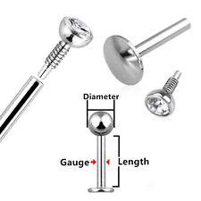 1X 16G Surgical Steel Lip 6mm Bar Labret Rings Monroe Tragus Studs Body Piercing