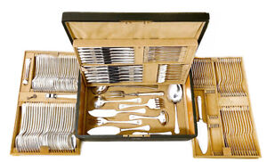 Original Art Deco Cutlery Service for 12 Total 147 Pieces Initials LM / ML