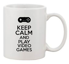 Keep Calm And Play Video Games Controller Gamer Funny Ceramic White Coffee Mug