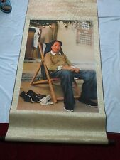 """Artistic Chinese Cultural Revolution Scroll Brocade""""Chairman Mao Sitting"""""""