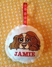 Cavalier King Charles Spaniel Christmas Ornament custom embroidered