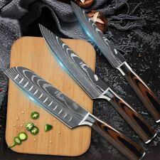 3 Piece Kitchen Knife Set Stainless Steel Japanese Damascus Style Chef's Knives