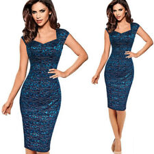 Womens Ladies Bodycon Lace Floral Pencil Dress Party Cocktail Formal Midi Dress