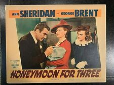 HONEYMOON FOR THREE 1941 ORIGINAL LOBBY CARD - ANN SHERIDAN, GEORGE BRENT