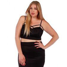 Sexy Plus size 2X BRALETTE Black Cut Out Crop Top Yummy Plus