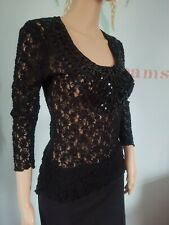 Ladies per una M&S Blouse Top T-shirt Black Stretch Sequin embroidered 8 /10