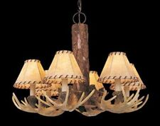 "NEW 6-Light 24"" Noachian Stone Chandelier! Antler Rustic Lodge Log Cabin Ceiling"