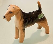 """Vintage Beswick England Porcelain Dog Figurine Airedale Terrier 3-1/4""""T by 4"""""""