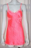 VICTORIA'S SECRET Satin Pink Lace Slip Medium M Camisole Nightgown Babydoll Cami