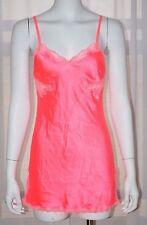 VICTORIA'S SECRET Satin Pink Lace Slip Medium M Camisole Nightgown Babydoll Cami