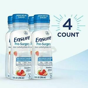 4 Ensure Pre-Surgery Clear Carbohydrate Drink 10 Fl Oz Each Strawberry Recovery