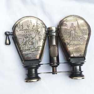 "Antique Brass Monocular Maritime Vintage Nautical 4""Binocular With Leather Beg"