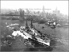Photo Aerial: USS Arizona Heads Out For Sea Trials, NY Harbor, East River, 1918