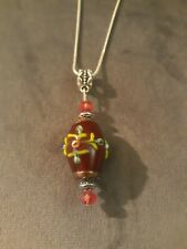 Handmade Burgundy Lampwork Glass Pendant On Silver Snake Chain, Necklace