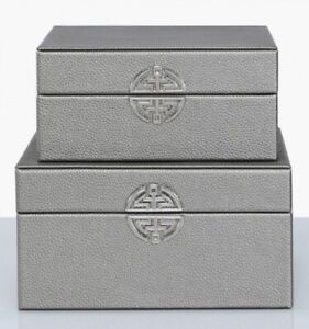 Shabby Chic Vintage Set of 2 Pewter Boxes Faux Leather Jewellery HomeDecor
