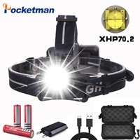200000lm xhp70 Led Headlamp Rechargeable headlight Head Torch  lantern 18650