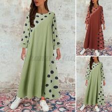Damen Langarm Kleid Maxikleid Gepunktet Elegant Plus Rundhals Linen Abendkleid