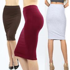 Womens Pencil Skirt Cotton Stretch Elastic Waist High Waisted Knee Length Office