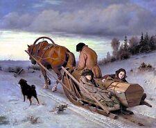 Art Print Julius Clover Landscape Horse winter Sledge wall art hangings 10x8
