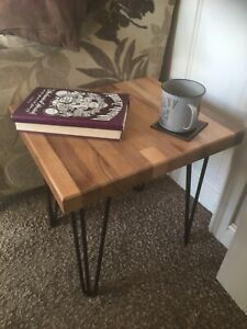 Handmade Walnut Side Table with Hairpin Legs