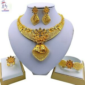 2021 Best Dubai jewelry set Necklace Ring earring Gold Wedding Crystal Plated